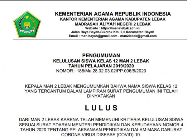 PENGUMUMAN KELULUSAN SISWA MAN 2 LEBAK TAHUN PELAJARAN 2019-2020